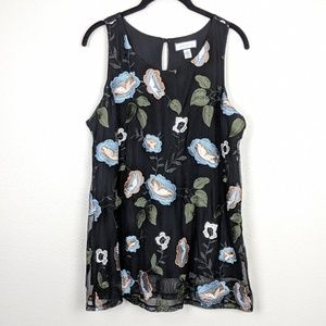 Charter Club Floral Embroidered Tank Size M